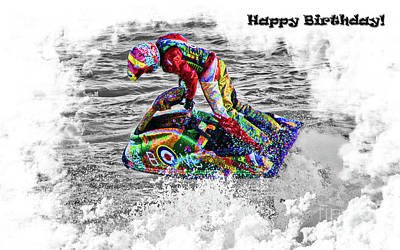 Photograph - Jet Ski Card by Terri Waters
