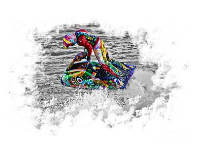 Sports Royalty-Free and Rights-Managed Images - Jet Ski on Transparent background by Terri Waters