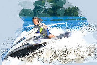 Speed Boat Painting - Jet Skiing In The Lake by Elaine Plesser