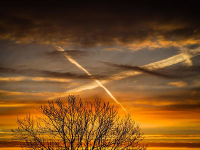 Photograph - Jet Trails Cross Over County Clare by James Truett