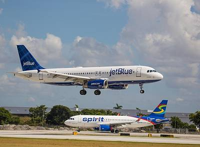 Jetblue Over Spirit Air Art Print