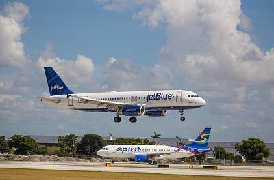 Photograph - Jetblue Over Spirit by Dart and Suze Humeston