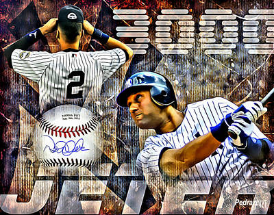 Ny Yankees Painting - Jeter 3000 by PedrazArt Digital Designs