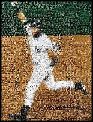 Athletes Mixed Media - Jeter Walk-Off Mosaic by Paul Van Scott