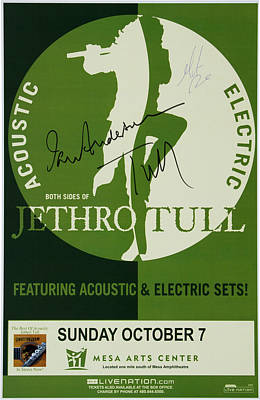Drawing - Jethro Tull Signed Poster by Allen Beilschmidt