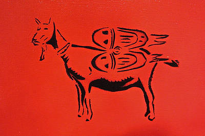 Jetpack Goat Print by Tom Evans
