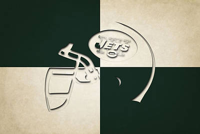 Jets Helmet Art Art Print by Joe Hamilton