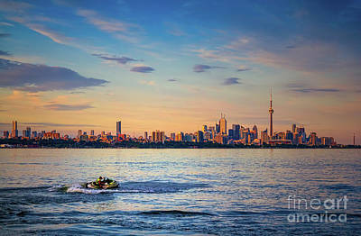 Photograph - Jetski And Toronto Skyline by Les Palenik