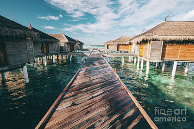 Photograph - Jetty Leading To Water Villas. Maldives by Michal Bednarek