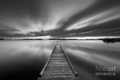 Netherlands Photograph - Jetty On A Lake In Black And White by Sara Winter