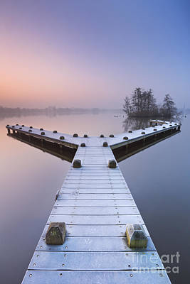 Netherlands Photograph - Jetty On A Still Lake On A Foggy Winter's Morning by Sara Winter