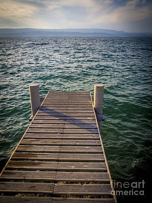 Jetty On Lake Leman Art Print by Bernard Jaubert