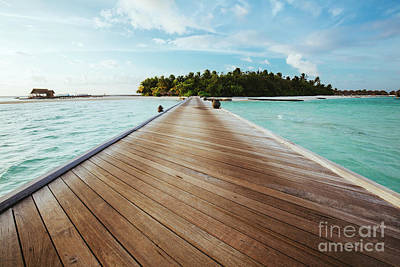 Island Photograph - Jetty On Sea Leading To An Island. by Michal Bednarek