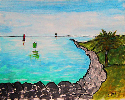 Gods Sunshine Art Painting - Jetty View by W Gilroy