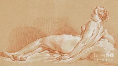 Pastel - Jeune Femme Allongee by Francois Boucher