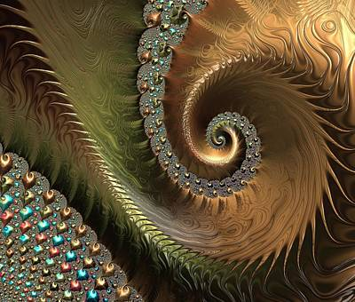 Embossed Digital Art - Jewel And Spiral Abstract by Marianna Mills