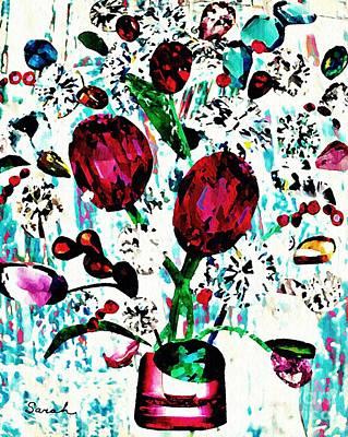 Jeweled Mixed Media - Jewel Bouquet by Sarah Loft