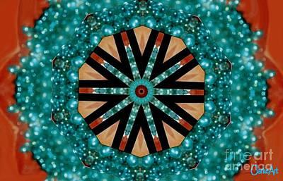 Concentration Digital Art - Jewel Kaleidoscope In Aqua by Jean Clarke