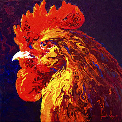 Hens Painting - Jewel by Marion Rose