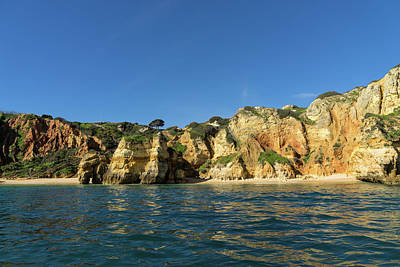 Photograph - Jewel Toned Ocean Art - Sailing By Algarve Cliffs And Beaches  by Georgia Mizuleva