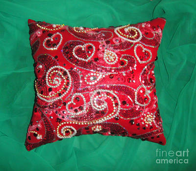 Jeweled Beaded Pillow. Ameynra Fashion For Home Original by Sofia Metal Queen
