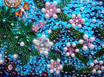 Beadwork Mixed Media - Jeweled Beadwork - Spring Garden 2 by Sofia Metal Queen