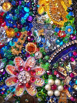 Jeweled Beadwork - Summer Garden 1 Art Print