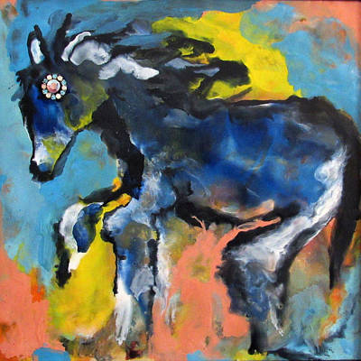 Encaustic Horse Painting - Jeweled Horse by JOANNE McCubrey
