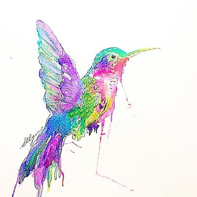 Painting - Jeweled Hummingbird  by Ellen Levinson