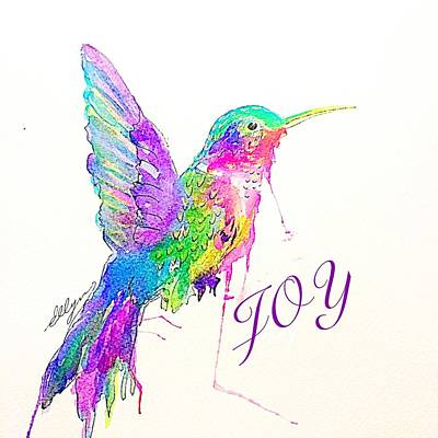 Painting - Jeweled Hummingbird Joy  by Ellen Levinson