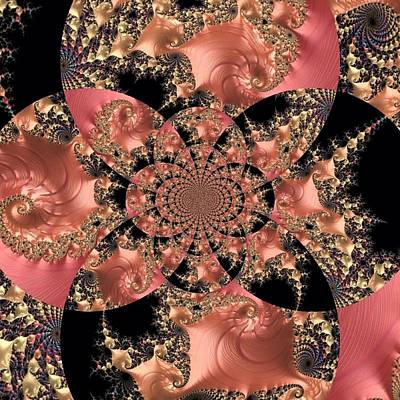 Digital Art - Jeweled Peach And Black Fractal by Femina Photo Art By Maggie
