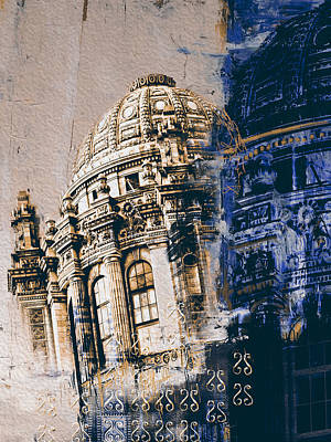 Chicago Oil Painting - Jewelers Building 210 3 by Mawra Tahreem