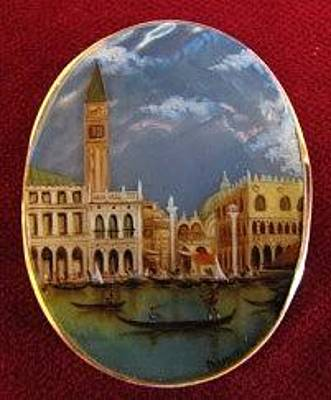 Hand Painted Pendant Jewelry - Jewelry-hand Painted Pendant And Brooch Mother Of Pearl And Gold 18 Kt Canaletto Venezia by Evelina Pastilati