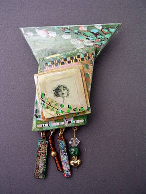 Jewelry - Jewelry Painted Collage Pin Or Neckpace by Barbara Yalof