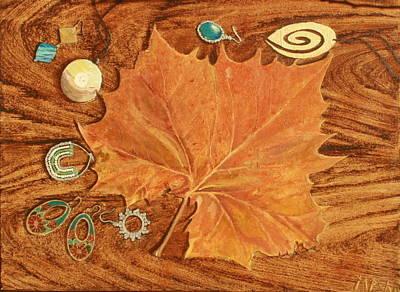 Wood Necklace Painting - Jewels Of Autumn by Mridula Priyadarshini