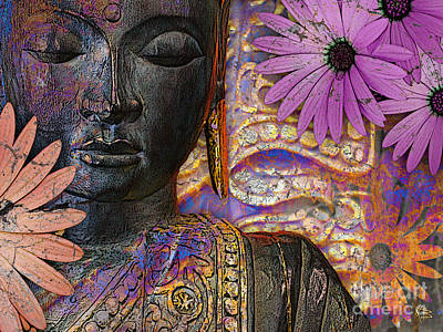 Jewel Tone Mixed Media - Jewels Of Wisdom - Buddha Floral Artwork by Christopher Beikmann