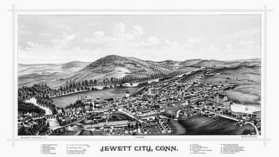 Photograph - Jewett City Connecticut Map 1889 by Phil Cardamone