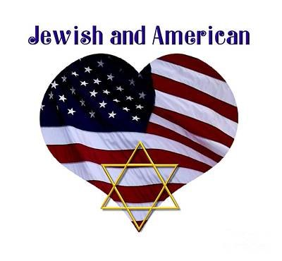 Chanukah Digital Art - Jewish And American Flag With Star Of David by Rose Santuci-Sofranko
