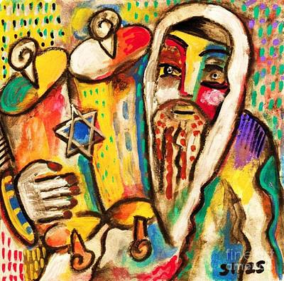 Jewish Celebrations Rejoicing In The Torah Art Print by Sandra Silberzweig