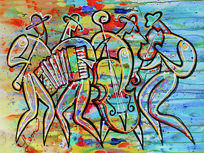 Jewish-funk Klezmer Music Art Print by Leon Zernitsky