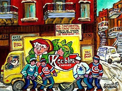 Hockey Fans Painting - Jewish Montreal Memories Old Continental Kosher Butcher Street Hockey Canadian Art Carole Spandau    by Carole Spandau