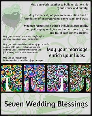 Jewish Seven Wedding Blessings Tree Of Life Hamsas Art Print by Sandra Silberzweig