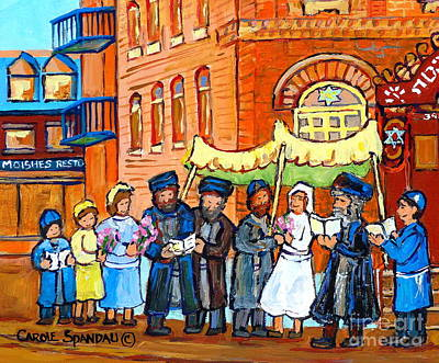 Bagg Street Shul Painting - Jewish Wedding Under The Chupa Montreal Street Scene Bagg Synagogue Canadian Art Carole Spandau      by Carole Spandau