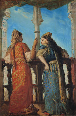 Harem Painting - Jewish Women At The Balcony In Algiers by Theodore Chasseriau