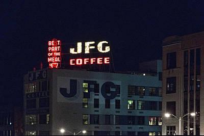Photograph - Jfg Sign At Night by Sharon Popek