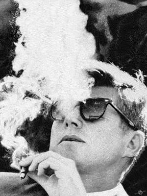 Painting - Jfk Cigar And Sunglasses Cool President Photo by Tony Rubino