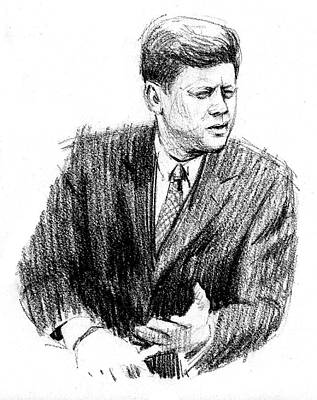 Drawing - JFK by Harry West