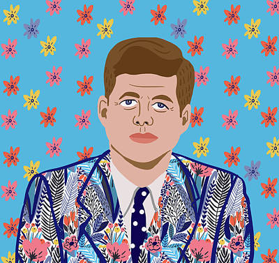 Potus Digital Art - JFK by Nicole Wilson