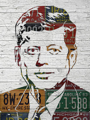 Jfk Portrait Made Using Vintage License Plates From The 1960s Art Print