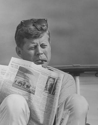 Landmarks Royalty Free Images - JFK Relaxing Outside Royalty-Free Image by War Is Hell Store